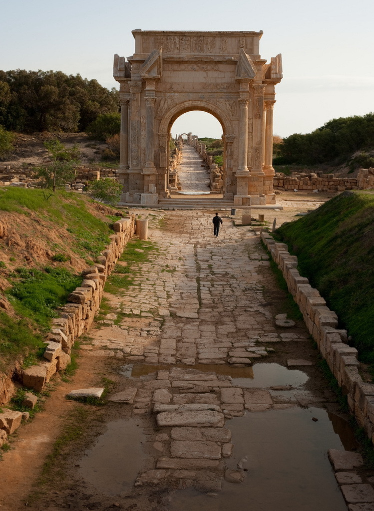 The arch of Septimus Severus at the roman ruins of Leptis Magna, Libya