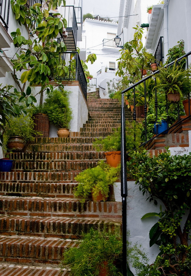 Street stairs in Frigiliana, Andalusia, Spain