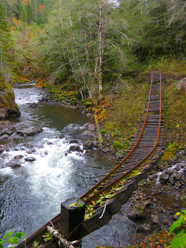 The abandoned Tillamook Railroad crossing Salmonberry river in Oregon, USA