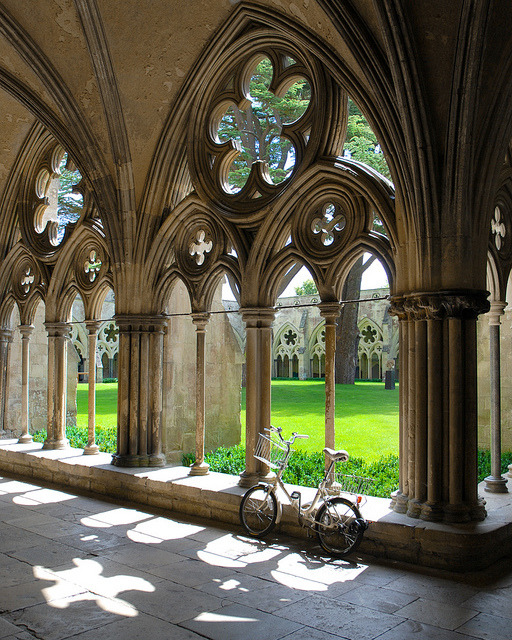 The bike in the cloister, Salisbury Cathedral, England