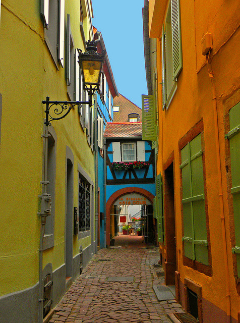 Colorful street in Colmar, Alsace, France