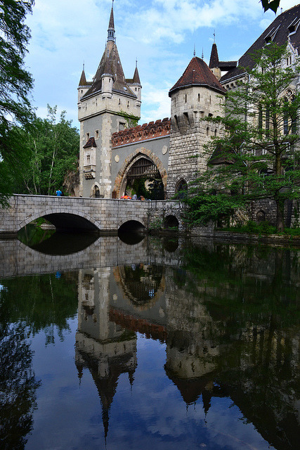 Reflections at Vajdahunyad Castle in Budapest, Hungary
