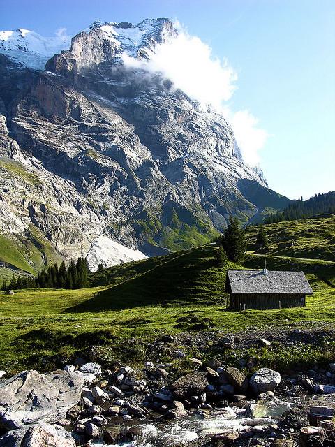 Mountain hut in Rosenlaui glacial valley, Switzerland