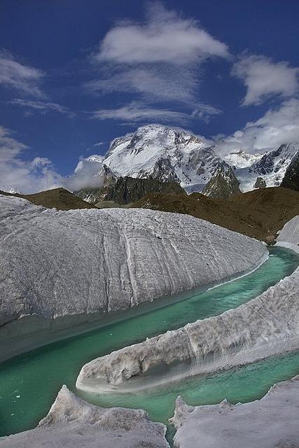 Broad Peak 8051m seen from Baltoro Glacier in northern Pakistan