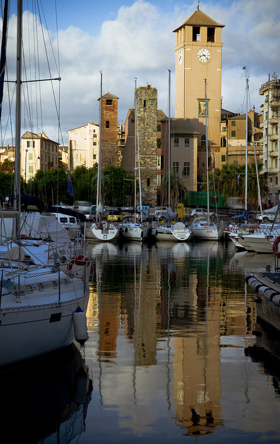 Medieval towers of Savona seen from the harbour, Liguria / Italy