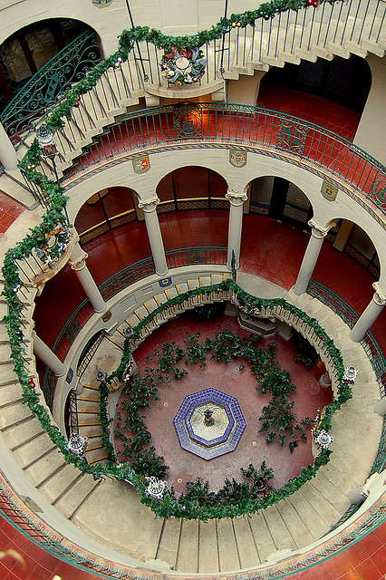 The spiral staircase at Mission Inn, Riverside / California
