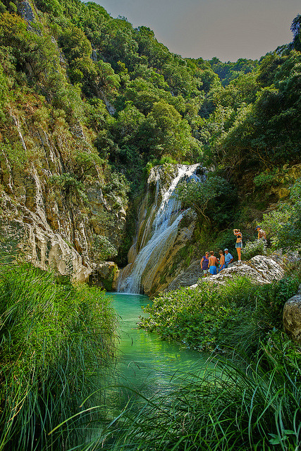 Natural swimming pools and waterfalls of Polylimnio, Greece