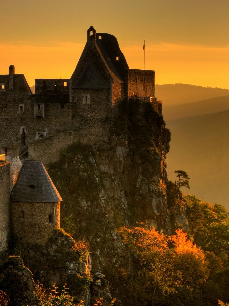 The castle ruins of Aggstein at sundown, Wachau / Austria