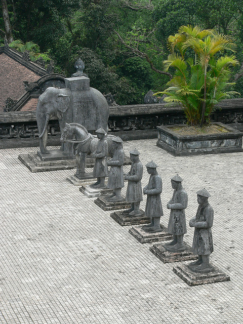 Statues at Khai Dinh Mausoleum, near Hue / Vietnam